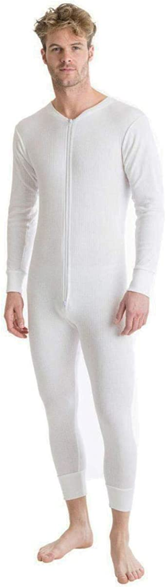 One Look Clothing Mens Thermal Onesie All in One Zip Up Black Charcoal White