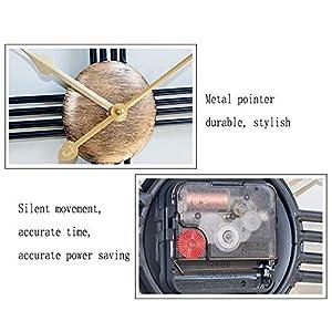 Wall clock Reloj Grande 50 cm Esqueleto Negro Metal Reloj de Pared de jardín 1 AA batería Sala de Estar Comedor 6