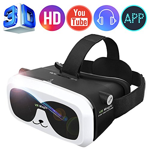 SEALEGEND® VR Headset for 3D Videos&Games Adjustable Focus&Head Straps Soft Cushion Lighter for Kids Adults with Earphone Slots Fit 4.0-6.0in iPhone Android Virtual Reality Headset VR Goggles VR Box
