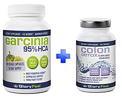 95% HCA Garcinia Cambogia Extract + Best Colon Detox BUNDLE For Fast Results - Combine 2 Best Sellers - Max Strength Detox Cleanse Pills with Pure Cambogia Extract to Reduce Appetite and Belly Fat