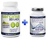 GloryFeel Weight Loss Bundle - 95% HCA Garcinia Cambogia + Colon Detox for Women and Men - Appetite Surpressant Capsules - Supplements for Fast Results