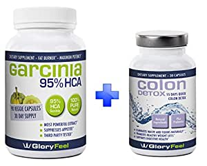 95% HCA Garcinia Cambogia Extract + Colon Detox BUNDLE For Fast Results - Combine 2 Best Sellers - Max Strength Detox Cleanse Pills with Pure Cambogia Extract to Reduce Appetite and Belly Fat
