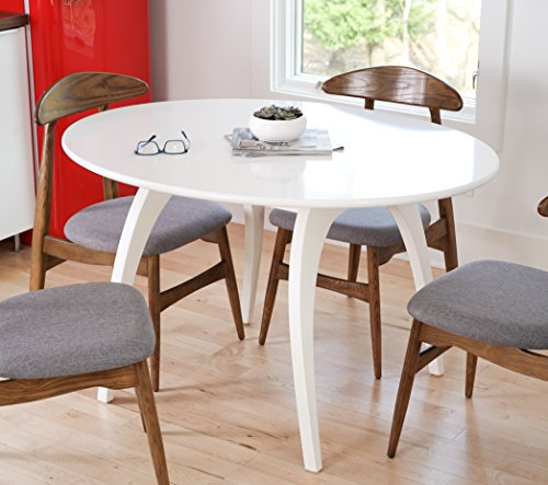 Hives and Honey 6006-006 Haven Home Beckett Mid-Century Round Table, 50 Wide Oval Tabletop Conference Table, White