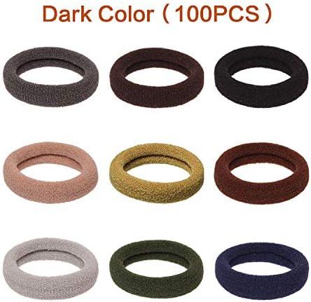 Gomas elásticas para el pelo sin costuras, no se arruga, para coleta de caballo, para moños, mujeres y niñas (100 unidades, color oscuro)