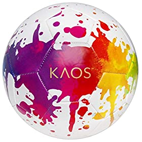 KAOS Training Recreation Soccer Ball, White w Multi-Color War Paint Graphics, Size 3