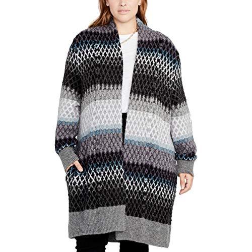 RACHEL Rachel Roy Women's Plus Size Ombre Diamond Sweater Coat, Teal Combo 2X/3X