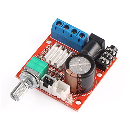 12 Volt Amplifier Board, DROK PAM8610 Mini Stereo AMP 10W+10W Digital Audio Amplify Circuit Class D 12V DC Portable Low Power Ampli Module Dual Channel Amplifier DIY for PC Speaker Car Automotive