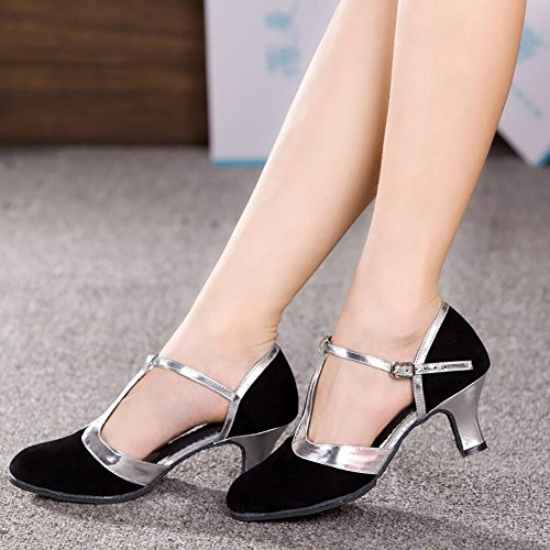 Party Heel XUE Suede Modern Ballroom Dance Heel Lace Stitching Color Shoes Size Cuban amp; E 39 Women's Shoes B Shoes Evening YOnOqrXwS5
