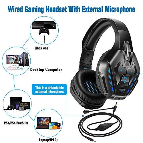 PHOINIKAS Gaming Headset für PS4, Xbox One, PC, Nintendo Switch, Wired Kopfhörer für Spiele mit Noise Cancelling-Mik und 7.1 Bass Surround, Wireless Bluetooth-Headset für Musik, 40H-Spielzeit - Blau