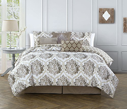 Avondale Manor Notting Hill 7-Piece Comforter Set, Queen, Taupe - ELEGANT PINCH PLEAT DESIGN - This overfilled and overstuffed comforter makes a luxurious and affordable center piece to any bedroom. Its' modern pinch pleat styling provides subtle texture and unmatched comfort. EASY TO CLEAN - This elegant comforter and pillow set is 100% polyester microfiber and machine washable when washed as a delicate, making it easy to keep clean and maintain. 7 PIECE COMFORTER SET - This comforter set includes 1 reversible comforter, 2 shams, 1-bed skirt and 3 decorative pillows. - comforter-sets, bedroom-sheets-comforters, bedroom - 51uMuFlYVRL -