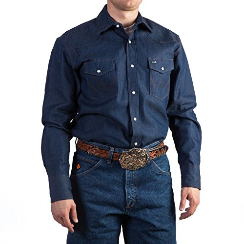 Tall Western Cowboy Boots - Wrangler Men's Cowboy Cut Work Western  Long Sleeve Shirt, Indigo, Large Tall