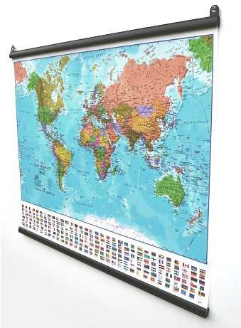 Extra large world wall map political with flags laminated with extra large world wall map political with flags laminated with hanging bars gumiabroncs Image collections