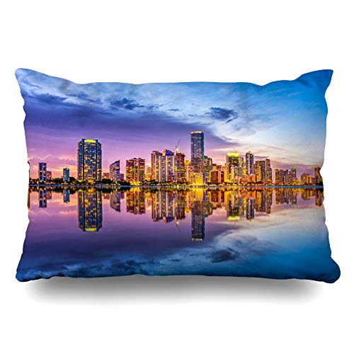 DIYCow Throw Pillows Covers View Miami Florida USA Skyline Skyscrapers On Biscayne Parks Outdoor Key Cushion Case Pillowcase Home Sofa Couch Standard Size 20 x 26 Inches Pillowslips ()