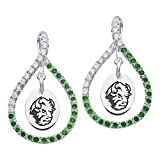 North Dakota State Bison Sterling Silver and Green Cz Figure 8 Style Earrings