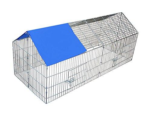 Kaninchenstall Hasenkäfig Freilauf Hasenstall Freigehege Laufstall Gehege mit Sonnenschutz
