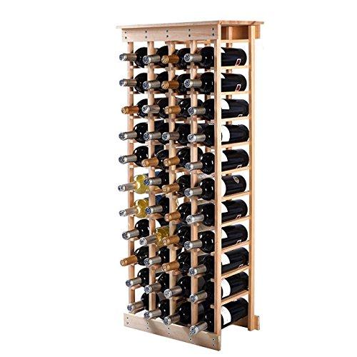 44 Bottle Wine Rack Bottle Holder Storage Kitchen Display Solid Construction Natural Wood #545