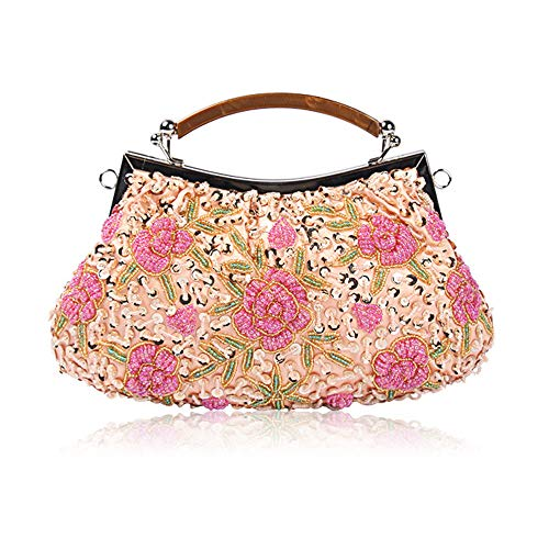 Bag Ball for Wedding Vintage Glitter Bags Party Cluth Women Handmade Bag Pink amp; Evening Bridal Fadirew Ladies Beads Beaded Sequin Flora Handbag Exquisite 0v14q