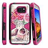MINITURTLE Case Compatible w/Samsung Galaxy S7 Active Case [MAX Defense] Dual Layer Hybrid Stand Cover Heavy Duty and Shockproof Case [S7 Active Skull Case] Pink Rose Skull
