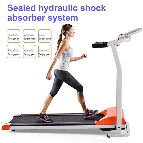 (Dozenla Mini Folding Electric Running Training Fitness Treadmill Home Office Max 6 MPH Motorized Training Running Fitness 1.5HP LCD Machine For Jogging Gym Exercise(US STOCK) (Orange))