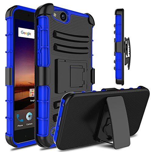 Venoro Compatible with ZTE Tempo X Case, ZTE Blade Vantage Case, Heavy Duty Full Body Protective Case Cover with Kickstand and Belt Swivel Clip Compatible with ZTE Avid 4 -