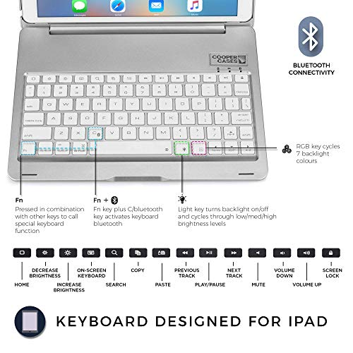 Amazon.com: COOPER NOTEKEE F8S keyboard case compatible with Apple iPad Air 1 | Wireless Clamshell Cover with Keyboard Backlit | 7 Color LED Backlight, ...