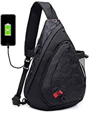 Men's Shoulder Bag,Popoti Daypack Leather Backpack Handbag Sports Bags Crossbody Bag Large Sling Chest Bag Messenger Bags with USB Port for Outdoor Hiking Travel (Black)