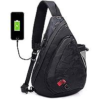 Men's Shoulder Bag,Popoti Daypack Leather Backpack Handbag Sports Bags Crossbody Bag Large Sling Chest Bag Messenger Bags with USB Port for Outdoor Hiking Travel (Black)