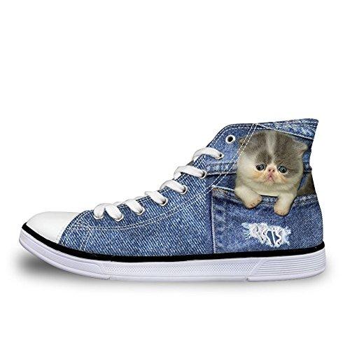 Denim Cat Femme Coloranimal Chaussons Montants 10 qfZOntH1x