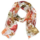 CTM Women's Fall Leaf Print Lightweight Scarf, White