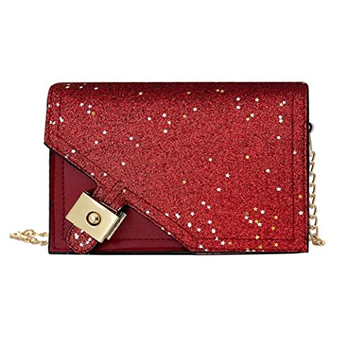 Women Crossbody Bag Fashion Stars Sequins Padlock Ladies Shoulder Bag Party Night Out Evening Club Girl Bag Gift Red