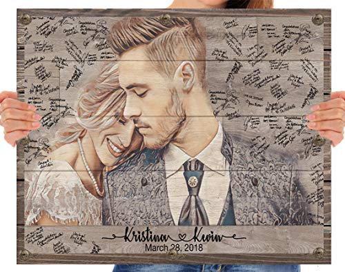 Wood Wedding Guest Book Alternative Personalized Wooden Rustic Photo Frame Sign Decorations Custom Portrait Couple Vintage Monogrammed Unique Bridal Shower Gift Idea Guest Registry Guestbook ()