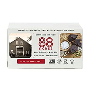 88 Acres Dark Chocolate Sea Salt Granola Bar, 1.6 oz (12 Bars)