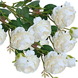 cn-Knight Artificial Flower 8pcs 24'' Silk Peony Long Stem with 2 Blossoms and 1 Bud Faux Flower for Wedding Bridal Bouquet Bridesmaid Home Décor Office Baby Shower Centerpiece(Creamy White) 20