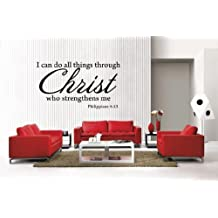 Newclew I Can Do All Things Through Christ Philippians 4:13 removable Vinyl Wall Decal Home Décor (Large)