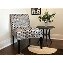 ViscoLogic Ashely Contemporary Pattern Fabric Upholstered Wooden Accent Chair with Thick padded Backrest and Seat (Clove, One Chair)