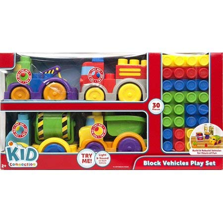 (Kid Connection Block Vehicle The Plastic Block Set Features Vehicles That Light Up and Make Sounds)