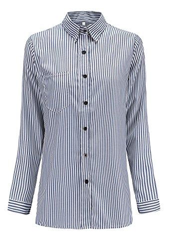 A Casual Sciolto Scuro Moda Blouse Tops Primavera Donna Manica Blu Shirts Camicie E Righe Autunno Bluse Risvolto Maglie Lunga SxIwCq0F