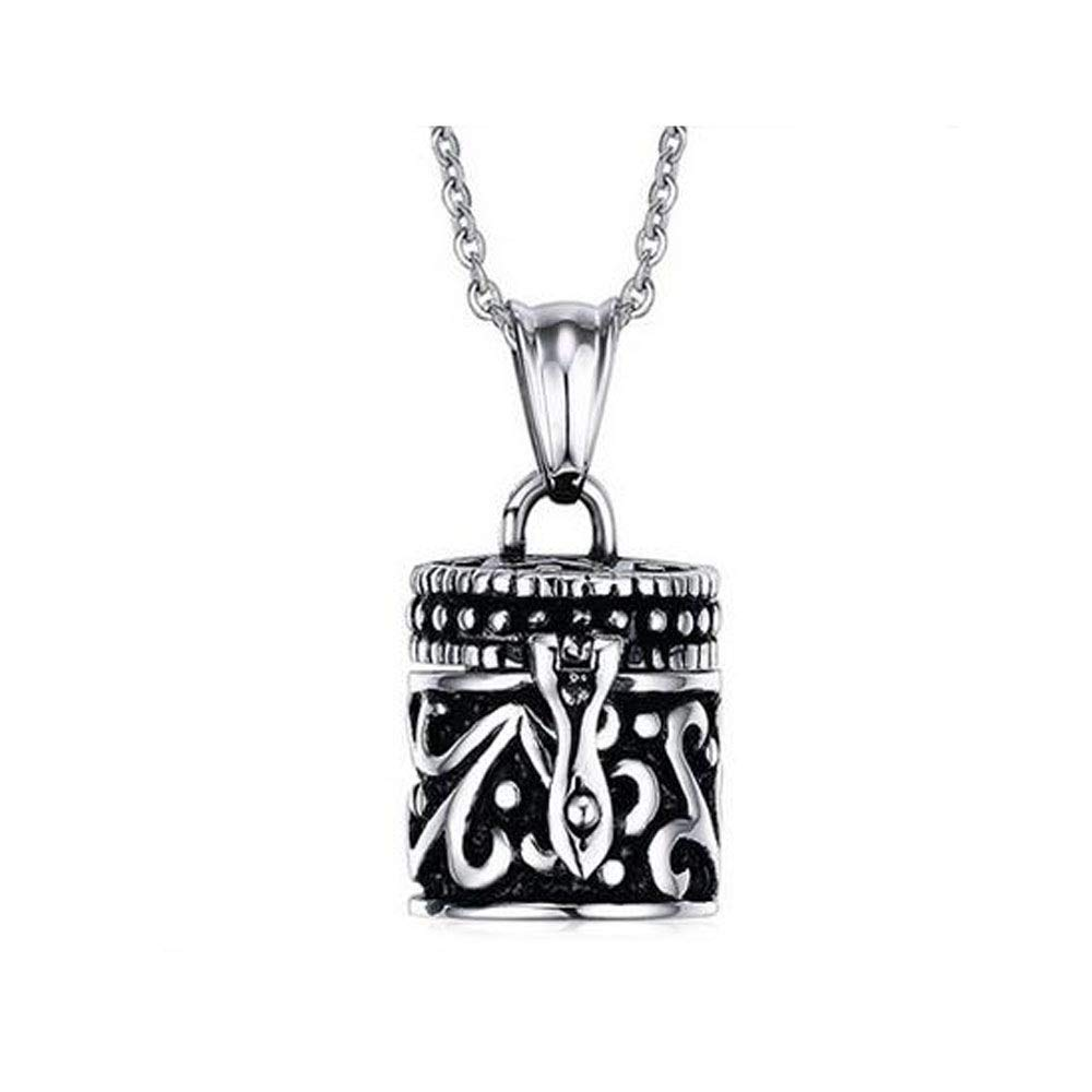 Black Personalized Necklace Stainless Steel Urn Cremation Ashes Souvenir Commemorative Pendant Jewelry Silver Black Diameter of 0.6 Inches (color   Black)