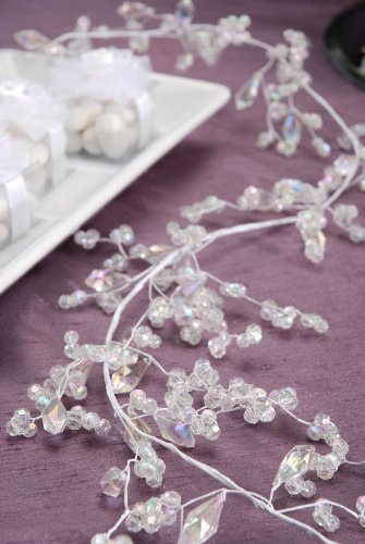Darice VL19041 AB Faceted Bead Cluster Mix Wedding Garland, White, 6-Feet