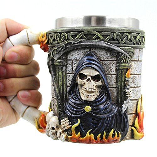 gangnumskythaii Coffee Mugs 3D Cup Tea Kitchen Tools Accessories Double Wall Stainless Steel Skull Mugs Knight Tankard Dragon