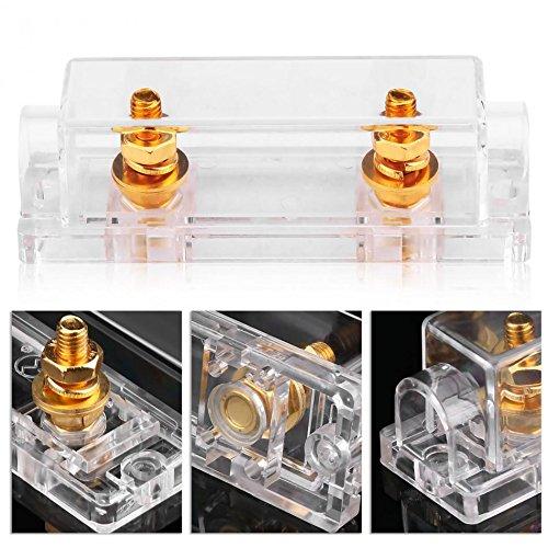 Daphot-Store - Car ANL Fuse Holder Case Transparent Fuse Box Distribution Fuseholder 100A 400A Gauge Cable Inline Block 0 4 8 GA ()