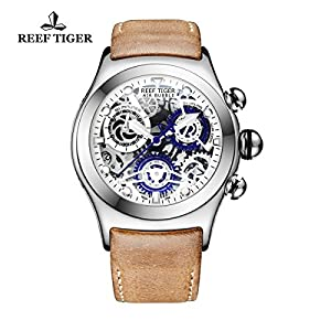 Reef Tiger Chronograph Sport Watch with Date Blue Skeleton Dial Luminous Steel Watches RGA792