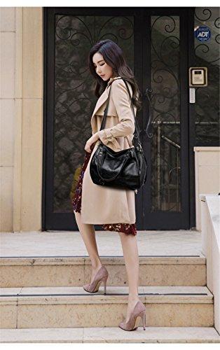 32X28X10Cm Bolsa Moda Bolso Capacidad Gran Violeta Solo con Suave Cuero Y De Negro caPqYYwR