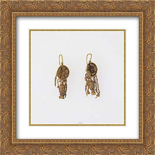 Late Classical or Hellenistic Period - 20x20 Gold Ornate Frame and Double Matted Museum Art Print - Earring with Pendant Amphora