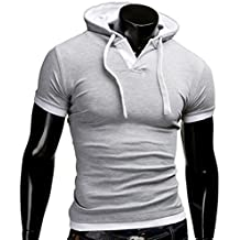 Mens Hipster Slim Fit Short Sleeve Lightweight Hoodies Summer Hooded T-Shirts Tees Tops Plus Size