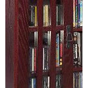 Leslie Dame M-371DC High-Capacity Inlaid Glass Mission Style Multimedia Storage Cabinet, Cherry