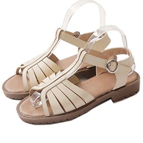 LongFengMa Women's Classic Open Toe T-strap Black Flats Sandals Beige 8f2Wb
