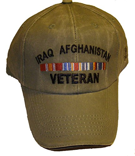 Iraq Afghanistan Veteran Khaki Embroidered Hat w/Ribbons - Veteran Owned Business