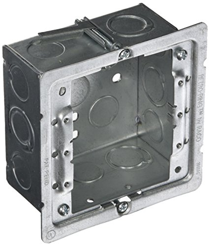 Hubbell-Raco 232-OW Old Work 2-1/8-Inch Deep Square Box Kit, Welded with 206RAC, (8) 1/2-Inch & (4) TKO Eccentric Side Knockouts, 4-Inch by Hubbell