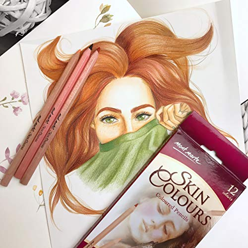 Ideal Skin Tone Crayons for expressive and realistic Portrait Drawings Professionals and Artists MONT MARTE Skin Color Pencils Set 12 pieces of Skin Colored Pencils Perfect for Beginners